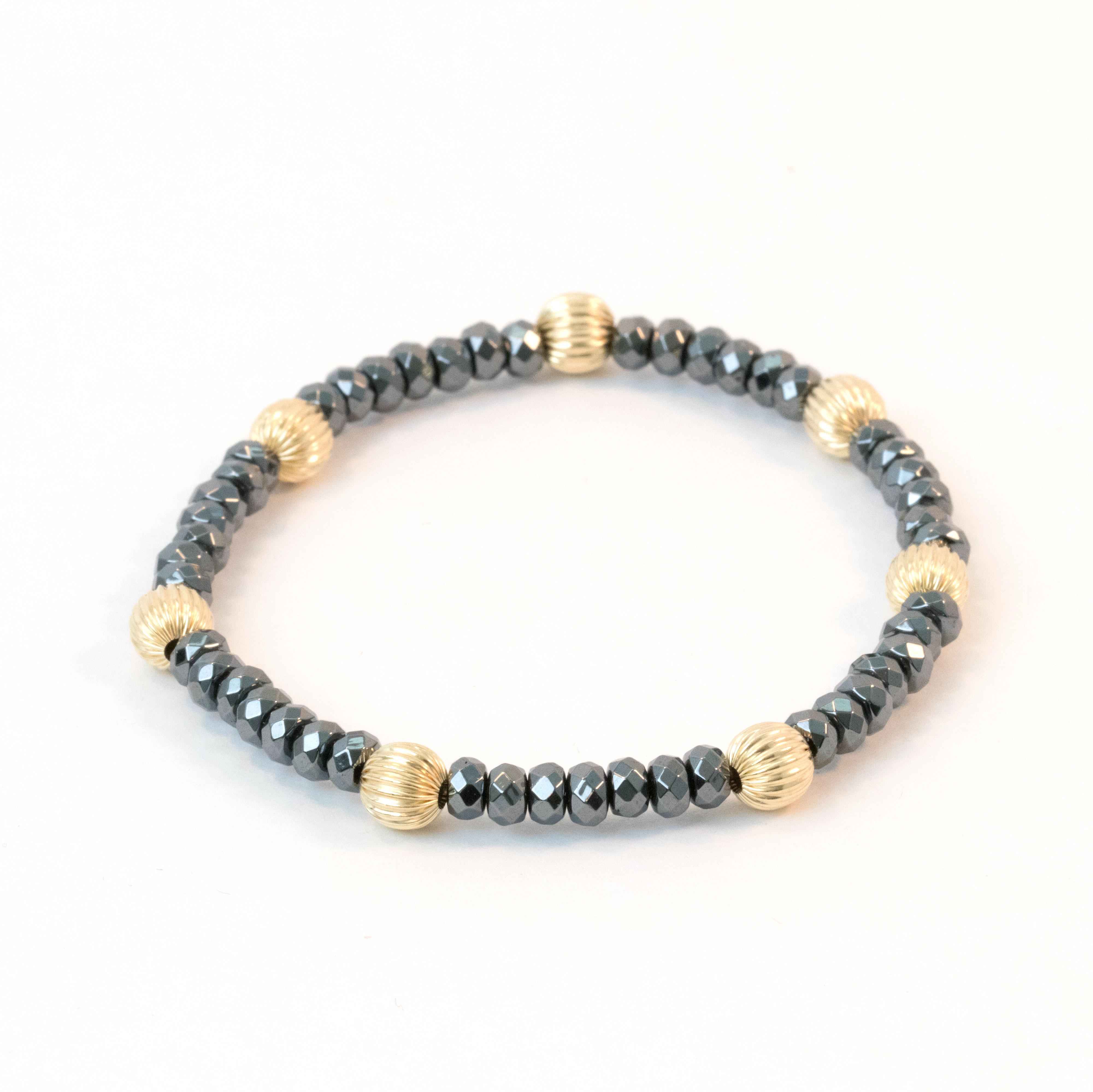 961b8565a3c35a HEMATITE & 14K GOLD BRACELET   MD-Jewelry